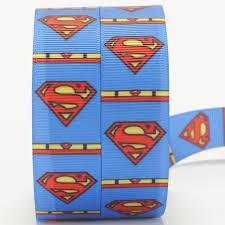 superman ribbon new 50 yards blue background superman logo pattern printed