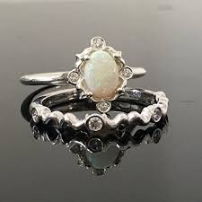 opal wedding ring sets 0 925 sterling silver opal engagement ring set