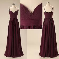 spaghetti straps dark burgundy long bridesmaid dresses a line