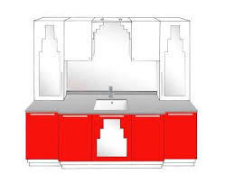 new art deco skyscraper style 5 door bathroom vanity unit