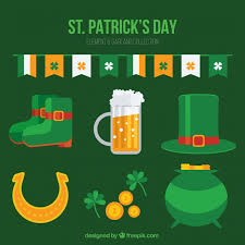collection of flat traditional st patrick u0027s day items vector