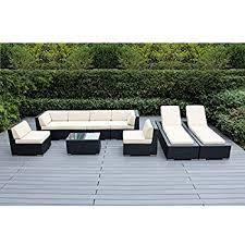 Sofa With Chaise Lounge Amazon Com Ohana 9 Piece Outdoor Wicker Patio Furniture