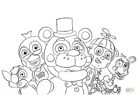 five nights at freddy u0027s all characters coloring page free