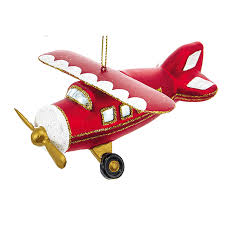 glass airplane ornament plane sparkle for your tree