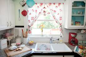 interior diy kitchen window treatment with vintage ivory curtain
