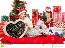 christmas accessories girl with christmas accessories royalty free stock photos image