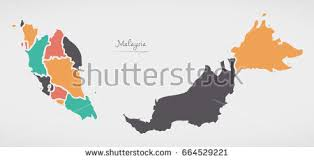 map malaysia vector modern map malaysia federal states my stock vector 258283949