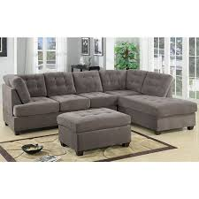 3 piece modern large tufted grey microfiber sectional sofa with