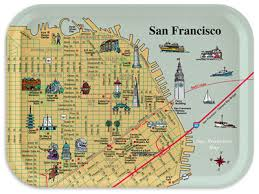 san francisco map map of downtown san francisco with pictorial illustrations