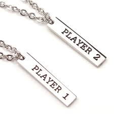 couples necklace player 1 player 2 couples necklace set s day gift for