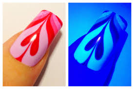 ultraviolet valentines day heart uv water marble nail art