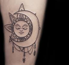 collection of 25 black ink moon sun on belly