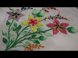 Fish Bone Stitch Embroidery Tutorials Embroidery Stitch Flowers And Fish Bone Leaves