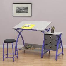 Drafting Craft Table Studio Designs Comet Purple Drafting Hobby Craft Table With Stool
