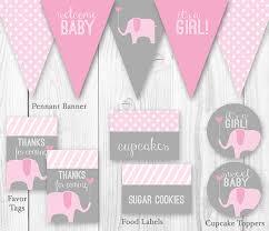 elephant baby shower package pink u0026 gray diy printable baby