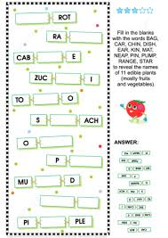 guess the names of fruits and vegetables word puzzle free