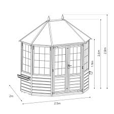8x6 wooden summerhouse buttermere octagonal shiplap t u0026g with apex