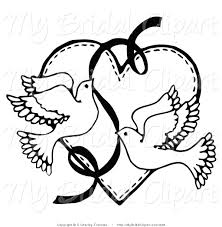 bridal clipart of a coloring page of two flying doves with a