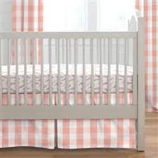 light coral and peach buffalo check crib bedding carousel designs