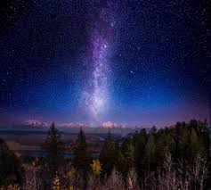 nature mountain forest snowy peak milky way space starry