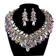rhinestone necklace sets images Unique ab crystal statement jewelry sets for bridal wedding women jpg