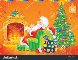 santa claus sitting easy chair by stock illustration 40769113