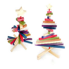 rainbow striped rotating wooden tree ornaments new year