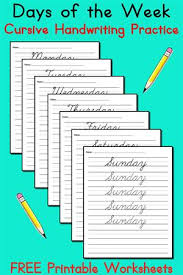 7 free handwriting worksheets days of the week