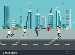 urban landscape skyscrapers people using smart stock vector urban landscape skyscrapers and people using smart phone modern lifestyle technology communications concept