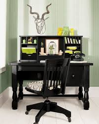 country style office decor with hanging wicker baskets and round