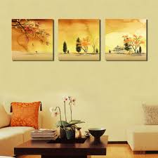 Hanging Canvas Art Without Frame Bpago Impressionist Large 3 Panel Autumn Yellow Forest Painting