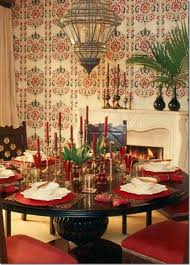 Wooden Round Dining Table Designs Romantic Moroccan Dining Room Design With Wooden Round Dining