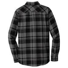Flannel Shirts Port Authority W668 Plaid Flannel Shirt Grey Black Fullsource