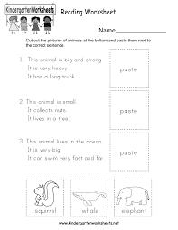 free printable reading worksheet for kindergarten