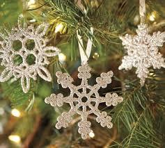 german glitter snowflake ornaments set of 6 pottery barn