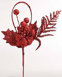 Floral Picks Glittery Red Christmas Floral Picks Holiday Florals Christmas