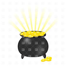pot of leprechauns gold on white vector clipart image 23108