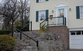 Stone Banister Aluminum Porch Railing In Michigan Porch U0026 Hand Railing