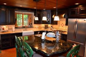 Black Cabinets Kitchen Gold U0026 Silver Granite Countertop With Black Cabinets Black Beauty