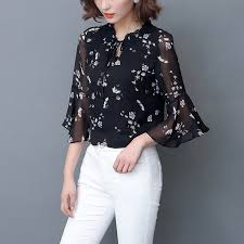 floral chiffon blouse flare sleeves printing floral chiffon blouse designs
