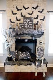 modern living room design with chalkboard halloween fireplace
