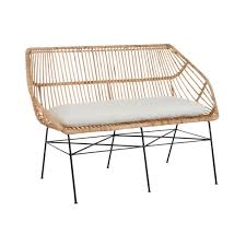 canape rotin canapé 2 places en rotin naturel coussin pieds métal 130x62x89cm