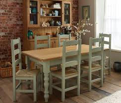 Rustic Kitchen Tables Furniture Wide Seat Comfortable With Farmhouse Dining Chairs