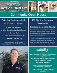 irg physical therapy of woodinville open house physical therapy