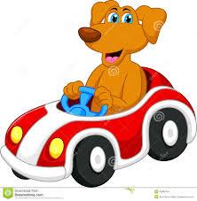 cute dog cartoon driving car stock vector image 40962334