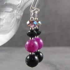 purple drop earrings black and purple earrings with a