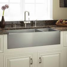 interior double stainless steel farm kitchen sink and granite
