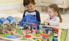 Imaginarium Train Set With Table 55 Piece Imaginarium All In One Wooden Train Table Only 47 99 At Toys