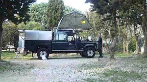 land rover 130 land rover defender130 setting up roof tent eezi awn youtube
