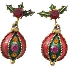 images of christmas earrings vintage christmas ornament dangle clip earrings the big o ruby lane